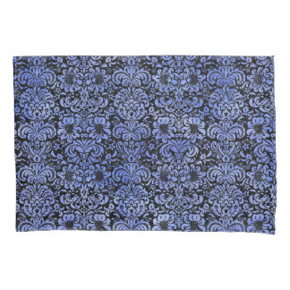 DAMASK2 BLACK MARBLE & BLUE WATERCOLOR PILLOWCASE