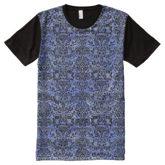 DAMASK2 BLACK MARBLE & BLUE WATERCOLOR (R) All-Over PRINT T-Shirt