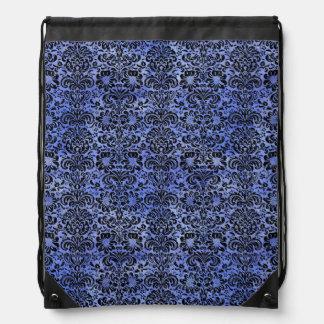 DAMASK2 BLACK MARBLE & BLUE WATERCOLOR (R) DRAWSTRING BAG