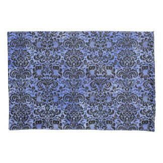 DAMASK2 BLACK MARBLE & BLUE WATERCOLOR (R) PILLOWCASE