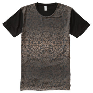 DAMASK2 BLACK MARBLE & BRONZE METAL All-Over PRINT T-Shirt