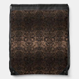 DAMASK2 BLACK MARBLE & BRONZE METAL (R) DRAWSTRING BAG