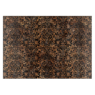DAMASK2 BLACK MARBLE & BROWN STONE (R) CUTTING BOARD
