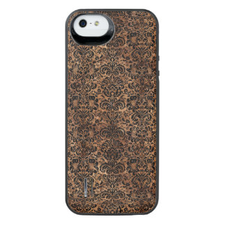 DAMASK2 BLACK MARBLE & BROWN STONE (R) iPhone SE/5/5s BATTERY CASE