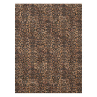 DAMASK2 BLACK MARBLE & BROWN STONE (R) TABLECLOTH