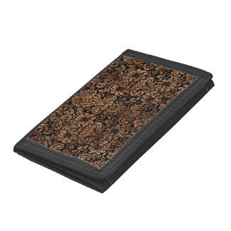 DAMASK2 BLACK MARBLE & BROWN STONE TRI-FOLD WALLET