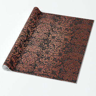 DAMASK2 BLACK MARBLE & COPPER BRUSHED METAL WRAPPING PAPER