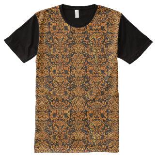 DAMASK2 BLACK MARBLE & ORANGE MARBLE All-Over PRINT T-Shirt