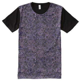 DAMASK2 BLACK MARBLE & PURPLE MARBLE All-Over PRINT T-Shirt