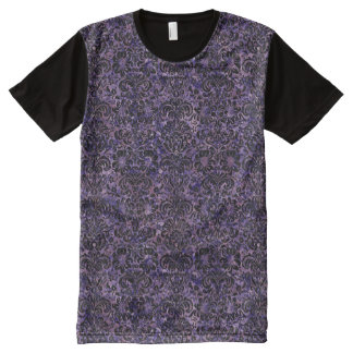 DAMASK2 BLACK MARBLE & PURPLE MARBLE (R) All-Over PRINT T-Shirt
