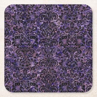DAMASK2 BLACK MARBLE & PURPLE MARBLE (R) SQUARE PAPER COASTER