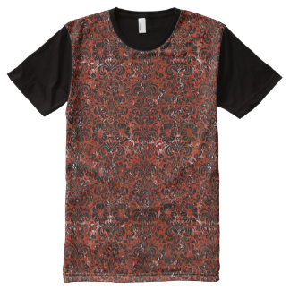 DAMASK2 BLACK MARBLE & RED MARBLE (R) All-Over PRINT T-Shirt