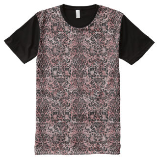 DAMASK2 BLACK MARBLE & RED & WHITE MARBLE (R) All-Over PRINT T-Shirt