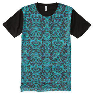 DAMASK2 BLACK MARBLE & TURQUOISE MARBLE All-Over PRINT T-Shirt