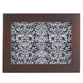 DAMASK2 BLACK MARBLE & WHITE MARBLE KEEPSAKE BOX