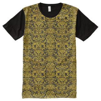 DAMASK2 BLACK MARBLE & YELLOW MARBLE All-Over PRINT T-Shirt