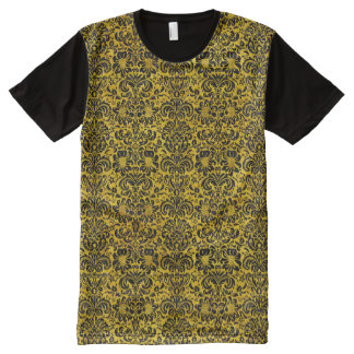 DAMASK2 BLACK MARBLE & YELLOW MARBLE (R) All-Over PRINT T-Shirt