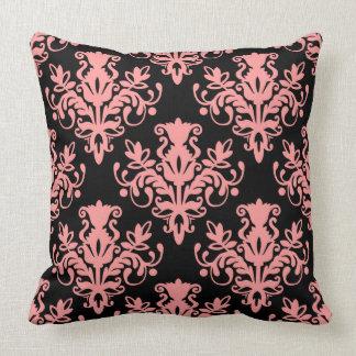 Damask 02 Pattern - Soft Pink on Black Throw Pillows