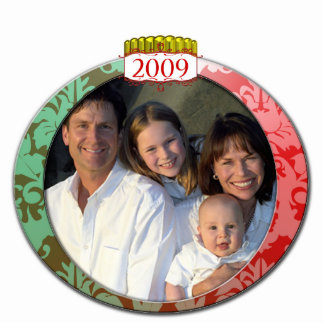 Damask 2009 Family Photo Christmas Ornament Photo Sculpture Decoration