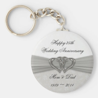 Damask 25th Wedding Anniversary Key Chain