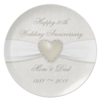 Damask 30th Wedding Anniversary Party Plate