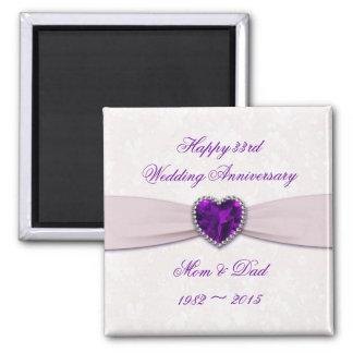 Damask 33rd Wedding Anniversary Magnet
