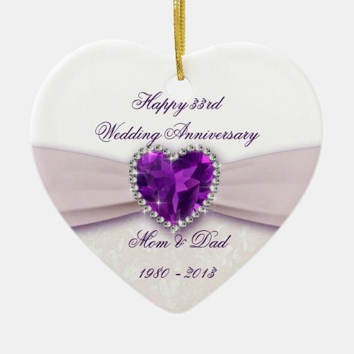 33rd Wedding Anniversary Gift: Damask 33rd Wedding Anniversary Ornament