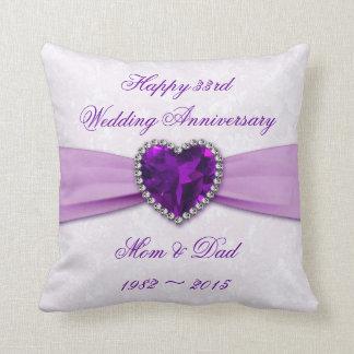 Damask 33rd Wedding Anniversary Throw Pillow