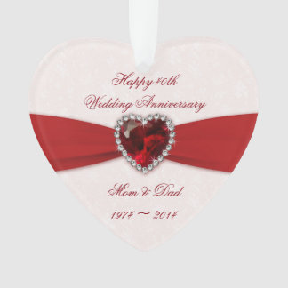 Damask 40th Wedding Anniversary Acrylic Ornament