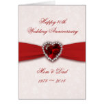 Damask 40th Wedding Anniversary Design Greeting Card