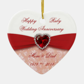 Damask 40th Wedding Anniversary Design Ceramic Heart Decoration