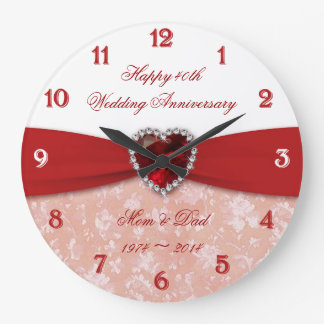Damask 40th Wedding Anniversary Design Clocks