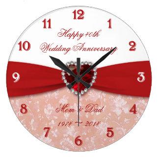 Damask 40th Wedding Anniversary Design Clocks
