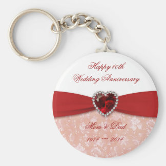 Damask 40th Wedding Anniversary Design Basic Round Button Key Ring