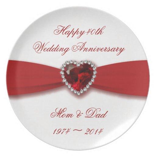 Damask 40th Wedding Anniversary Design Plates