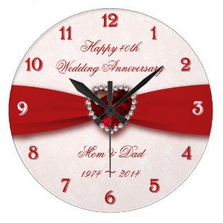 Damask 40th Wedding Anniversary Design Wall Clock