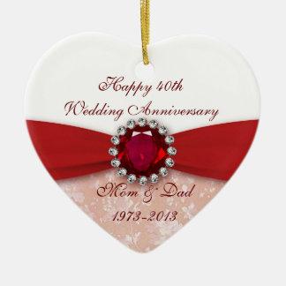 Damask 40th Wedding Anniversary Ornament