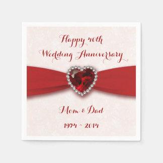 Damask 40th Wedding Anniversary Paper Napkins Disposable Napkin