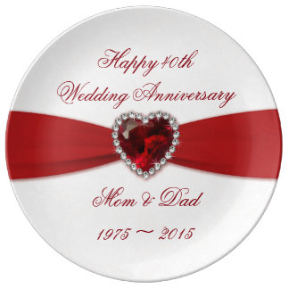 Damask 40th Wedding Anniversary Porcelain Plate