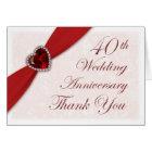 Damask 40th Wedding Anniversary Thank You Card