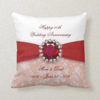 Damask 40th Wedding Anniversary Throw Pillow