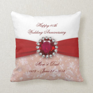 Damask 40th Wedding Anniversary Throw Pillow Cushions