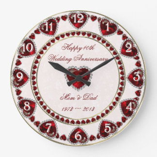 Damask 40th Wedding Anniversary Wall Clock