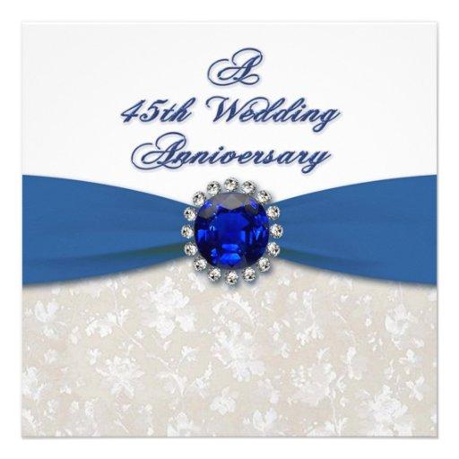 Wedding Gifts For 45th Anniversary : Damask 45th Wedding Anniversary Invitation 13 Cm 13 Cm Square ...