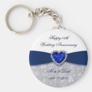 Damask 45th Wedding Anniversary Key Chain