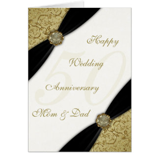 Damask 50th Wedding Anniversary Greeting Card