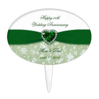 Damask 55th Wedding Anniversary Cake Picks