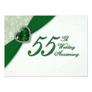 "Damask 55th Wedding Anniversary Invitation 5.5"" X 7.5"" Invitation Card"
