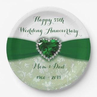 Damask 55th Wedding Anniversary Paper Plate