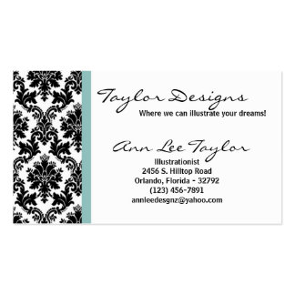 Damask and Blue Elegant Business Card